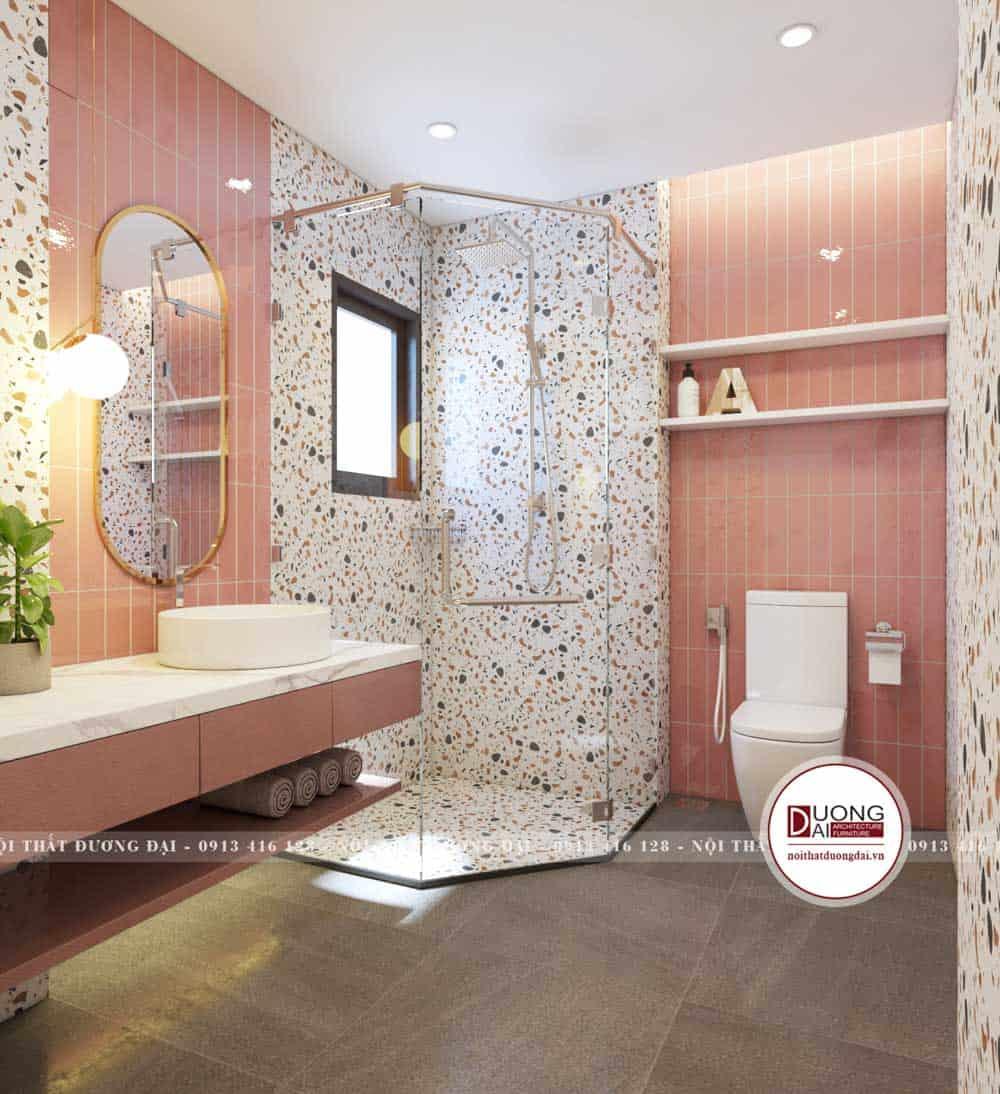 Phòng tắm màu hồng cho bé gái siêu đáng yêu