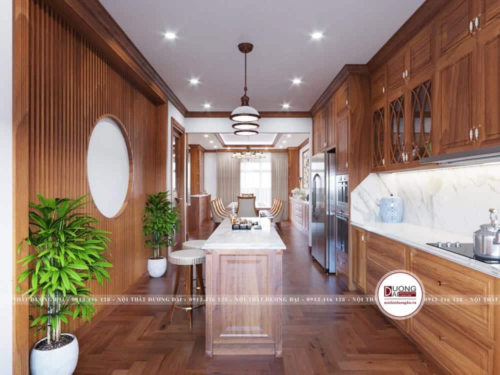 Đảo bếp gỗ hương đầy tiện nghi với mặt đá tự nhiên màu trắng