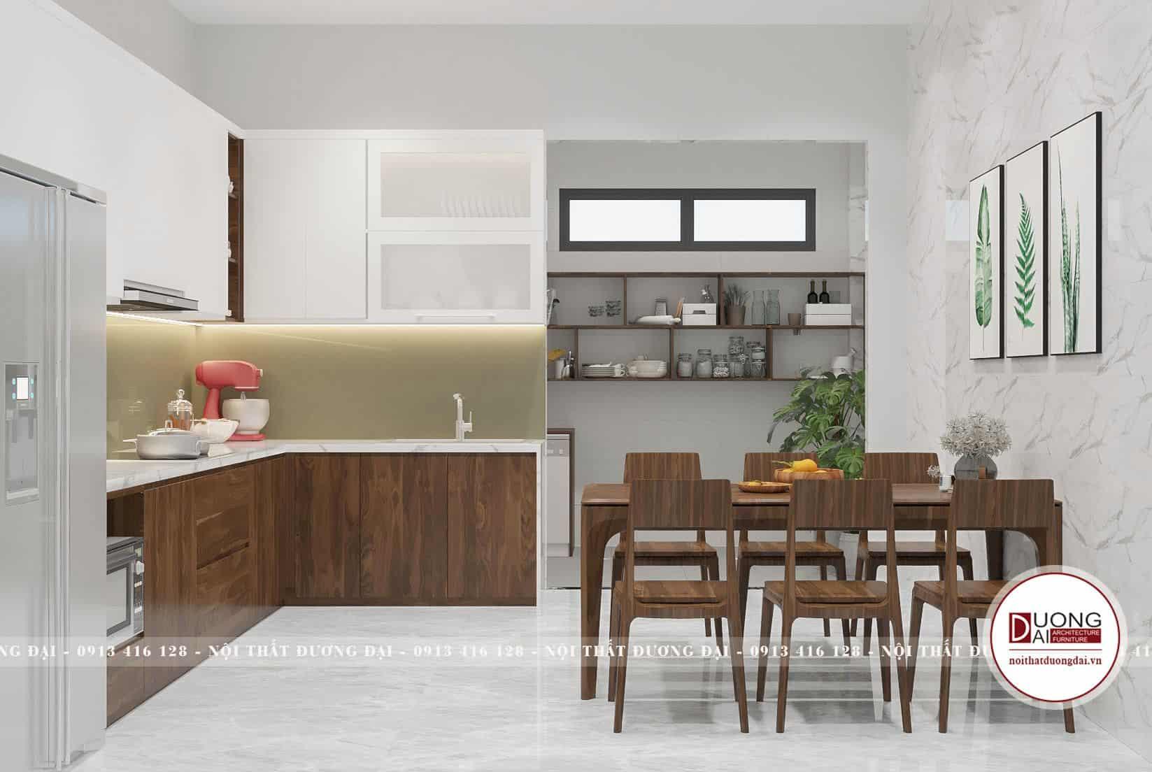 Tủ bếp và bàn ăn gỗ tinh tế và sang trọng