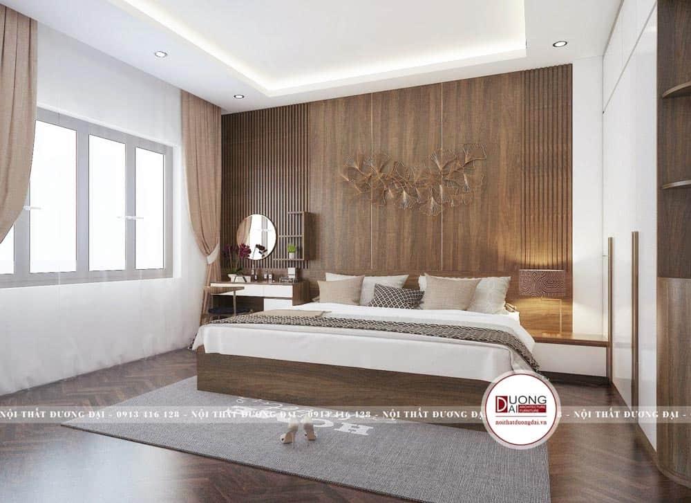 Phòng ngủ Master đầy sang trọng với nội thất màu nâu gỗ