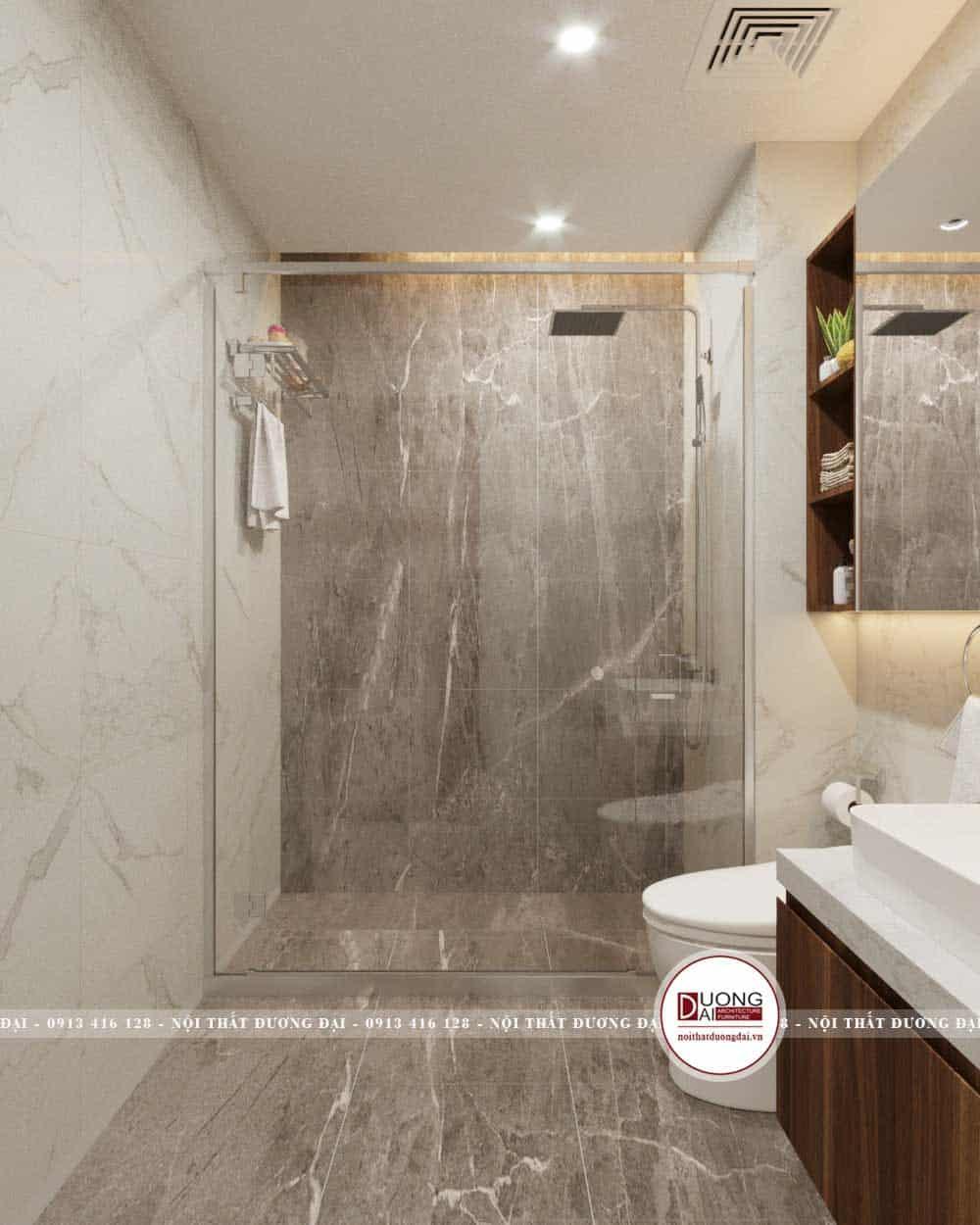 Thiết kế hiện đại của phòng tắm kính và nội thất cao cấp