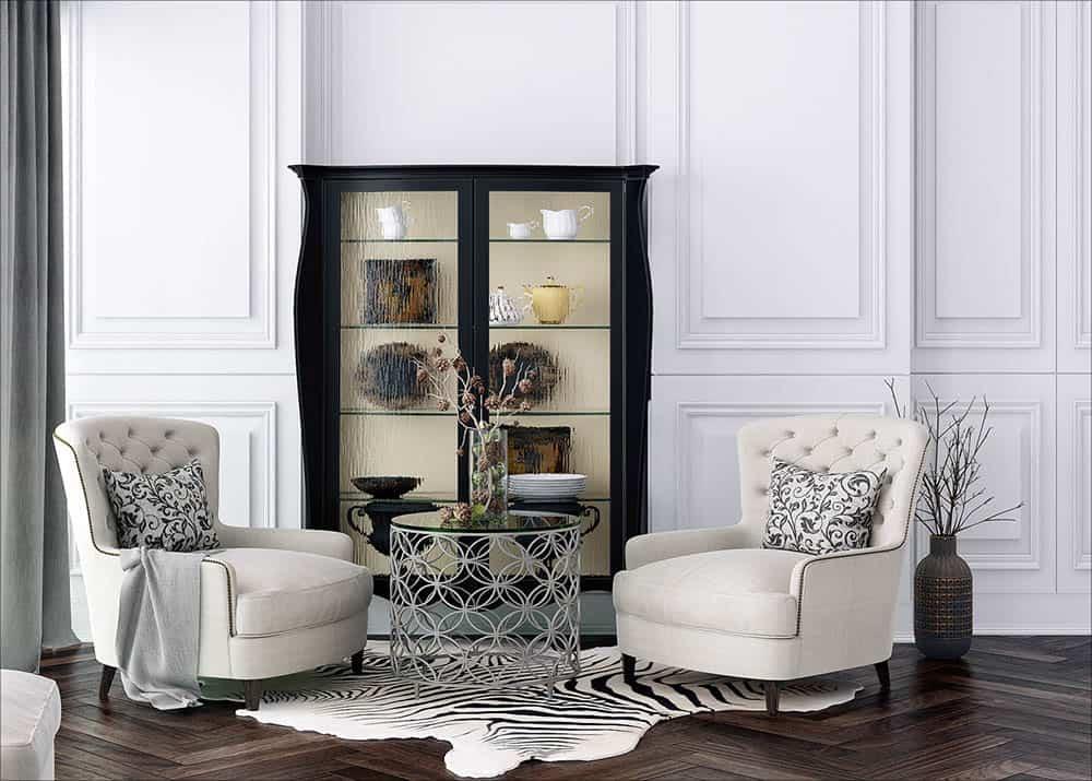 Mẫu tủ trang trí đầy ấn tượng cho phòng khách