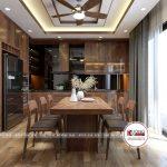 Phòng bếp siêu tiện nghi với tủ bếp chạm trần chữ L thông minh